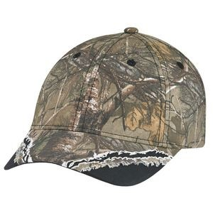 Deluxe Blended Chino Twill Camouflage Frayed Hunting Cap (Mossy Oak® Break-Up® or Realtree®) )